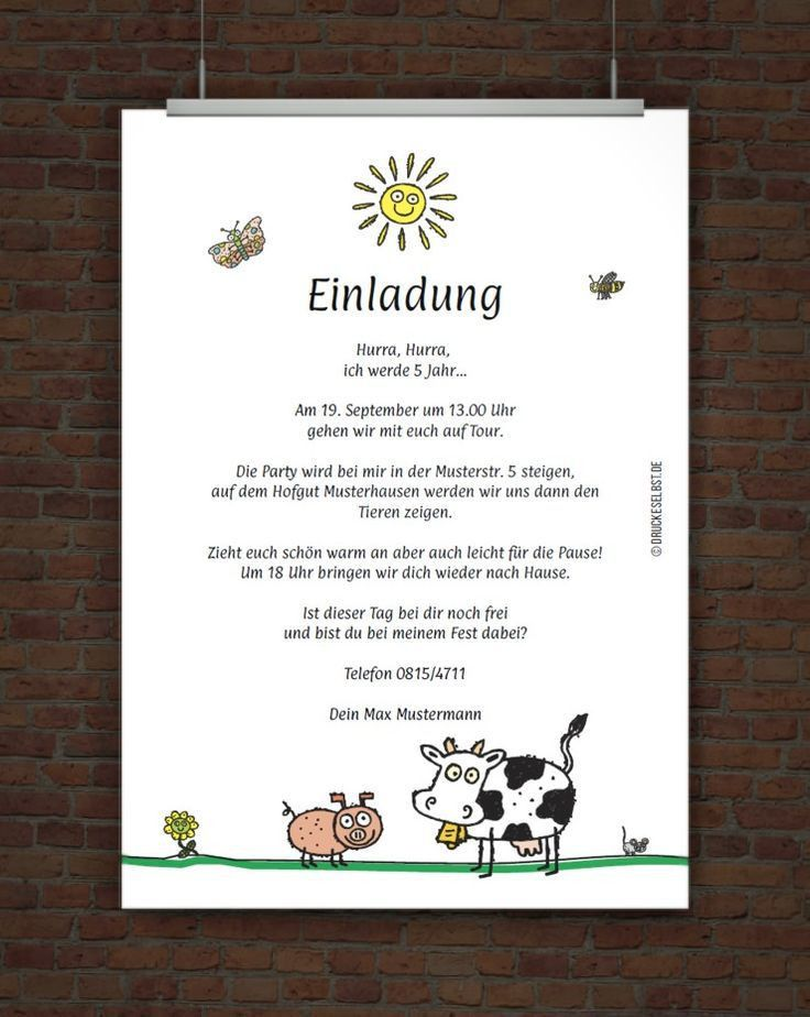 Geburtstagsspruche Kindergeburtstag Lustig New Einladung