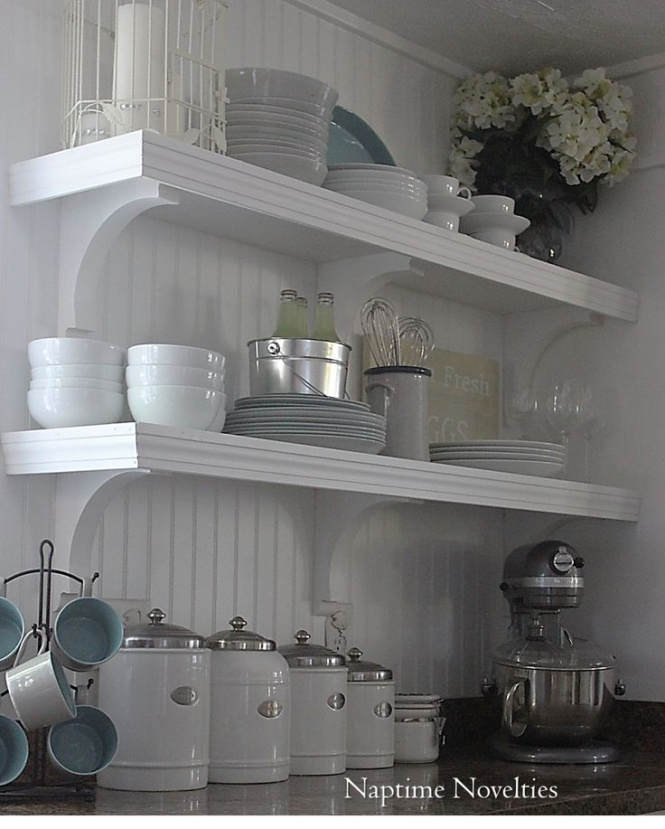 DIY Open Shelves in Kitchen and beadboard backsplash.  I like the idea but I want to use this concept in the laundry room instead