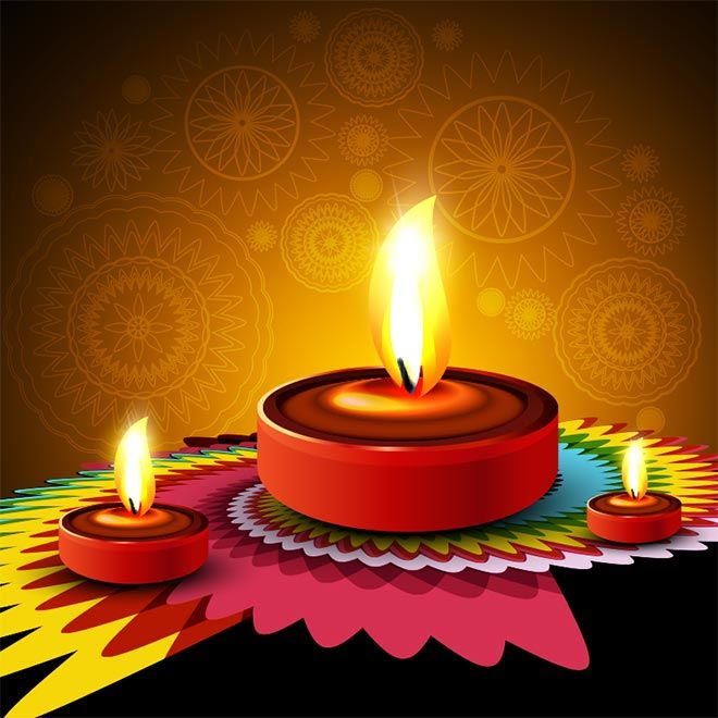Diwali Wallpaper: Free Vector 3d Glowing Diya With Paper Cutting Geometric