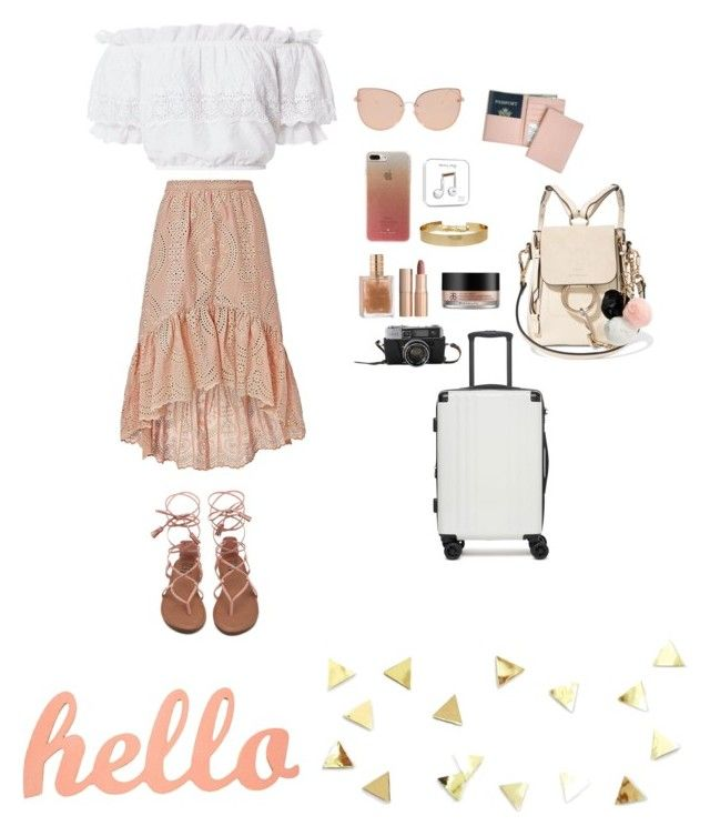 """""""holiday"""" by dindameitiza on Polyvore featuring LoveShackFancy, Royce Leather, CalPak, Chloé, Topshop, Kate Spade, GUESS, Charlotte Tilbury and Arbonne"""