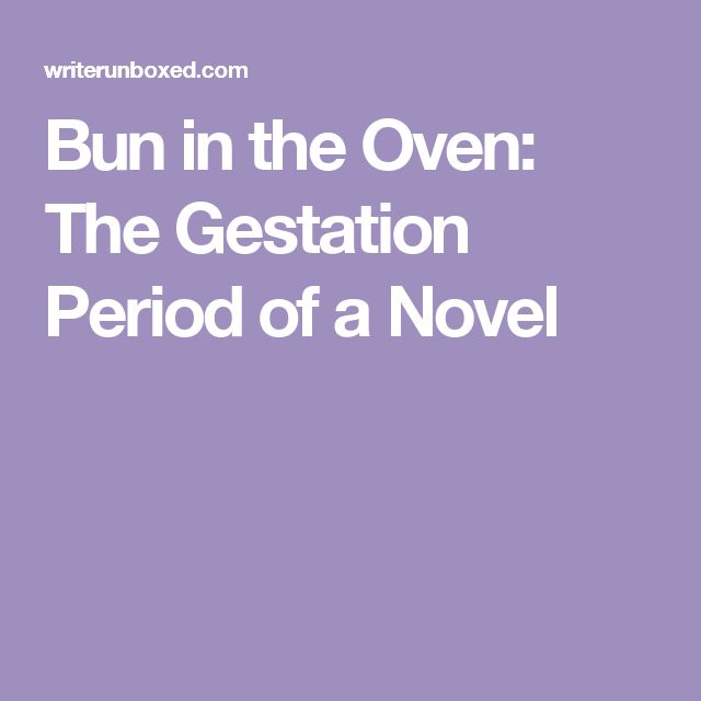 Bun in the Oven: The Gestation Period of a Novel