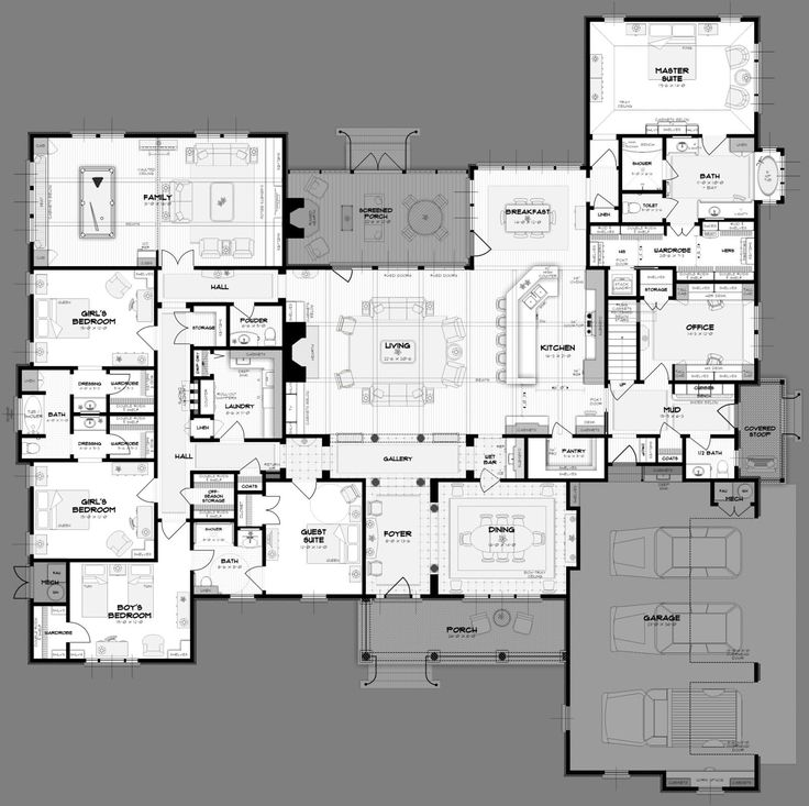 Big 5 Bedroom House Plans. WAY more space than we need.... but AWESOME layout. You could host guests and have lots of family over.
