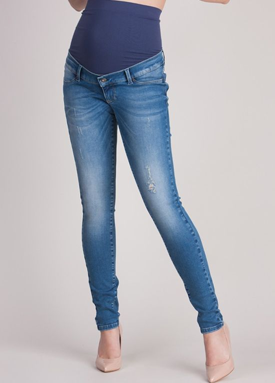 Queen Bee Over Bump Distressed Skinny Maternity Jeans by Seraphine