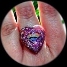 Anillo Orgonita-Corazón Con Corazón Arcoiris