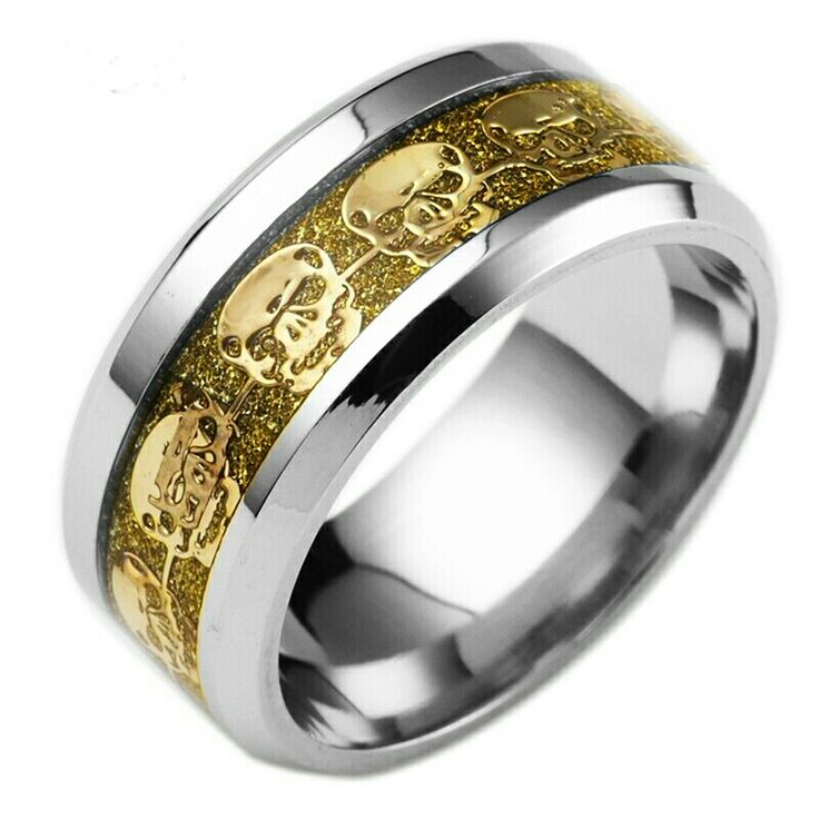 www.madaboutskullz.com  Stainless steel skull ring gold colour inlay.  FREE SHIPPING!!