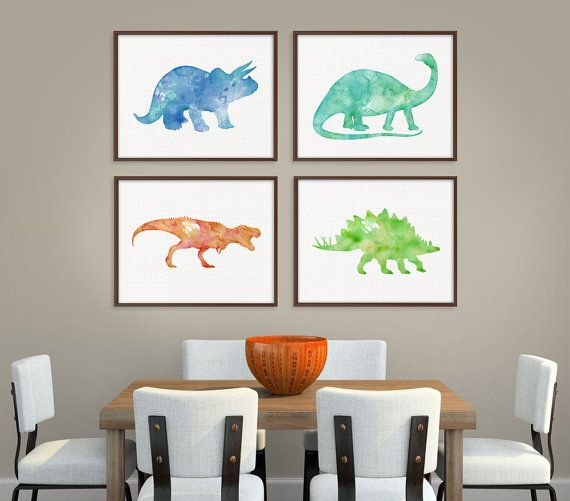 Dinosaur Art Print, Set of 4 Prints, Dinosaur Poster, Dinosaur Wall Decor, Dinosaur Wall Art, Watercolor Dinosaur, Childrens Room Decor