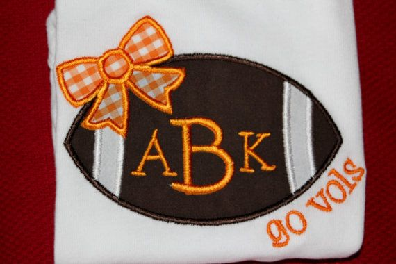 Tennessee Vols Football Bow Bodysuit with Name or by BebesStitches, $20.00