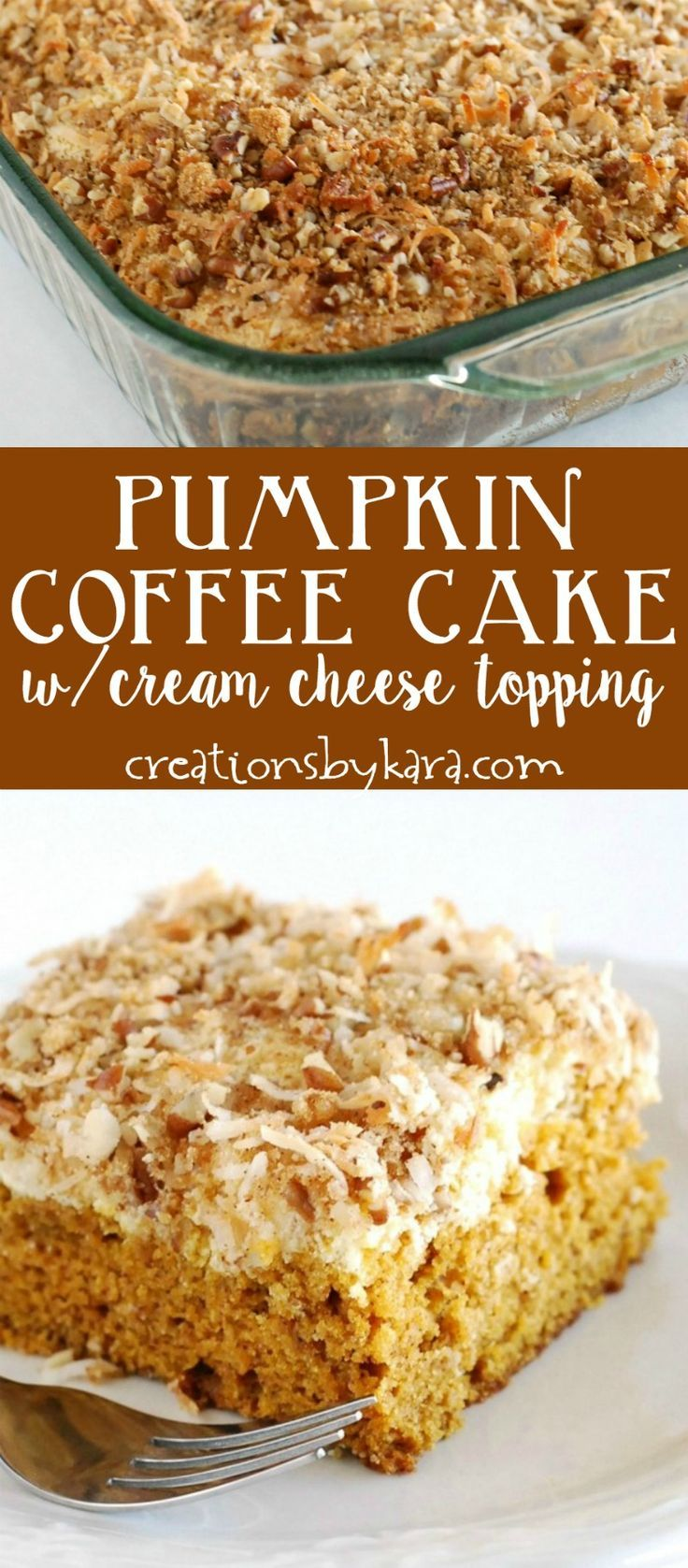 Pumpkin Coffee Cake with a cream cheese filling and crunchy topping. Simply delicious! #coffeecake #pumpkin  via creationsbykara.com