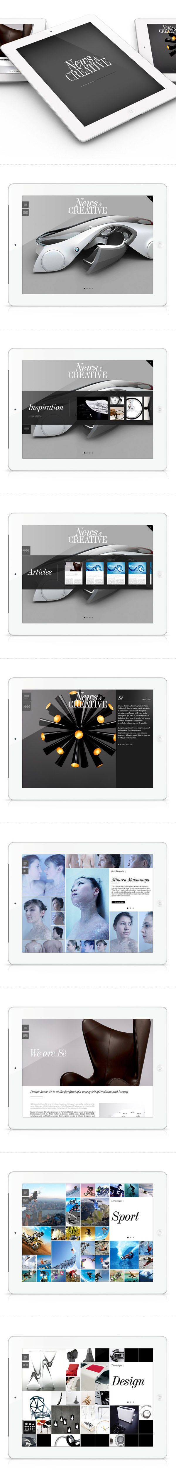 News Creative by Sylvain Weiss, via Behance   ***   Ipad Mag Application