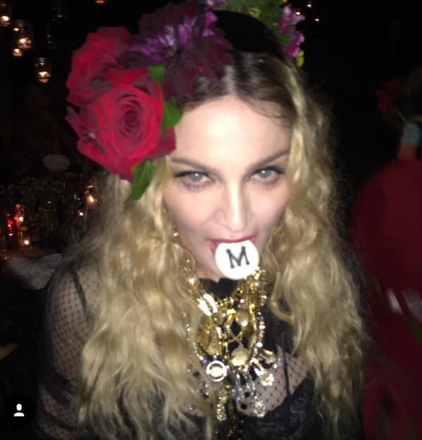 Madonna at her 57th birthday party.