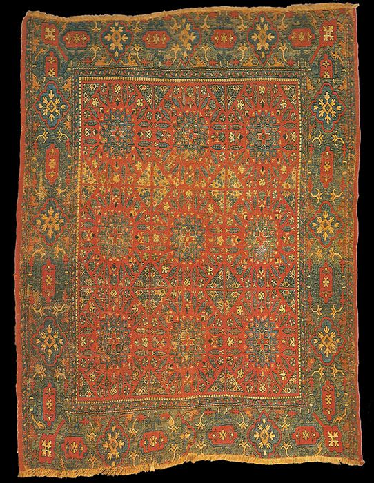 16th century 'Mamluk' Chessboard rug. Ottoman Empire, Syria or Egypt, 16th century. formerly in the collection of Sir George Mounsey