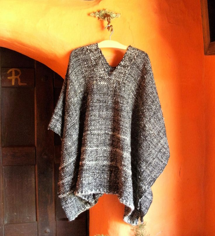 Hand-Woven Ruana / 100% Andean Pure Wool / Natural Poncho by CasaLunaCo on Etsy