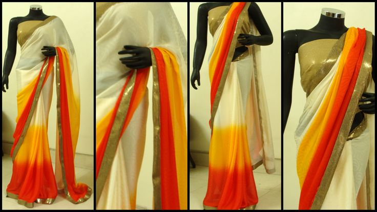 Ivory, orange and red saree with a dull gold finish, teamed with a gold sequined blouse.