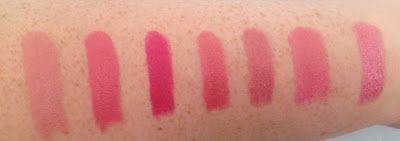 MAC Lipstick Collection. From L - R Angel, Chatterbox, Girl About Town, Going Dutch, Hot Gossip, Speed Dial, Trouble Maker (LE)