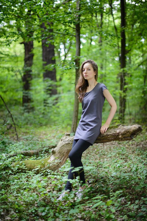 dark gray tunic made from organic cotton and 5% elastane. Yoga clothes, eco fashion, woman t-shirt, natural style, gray dress