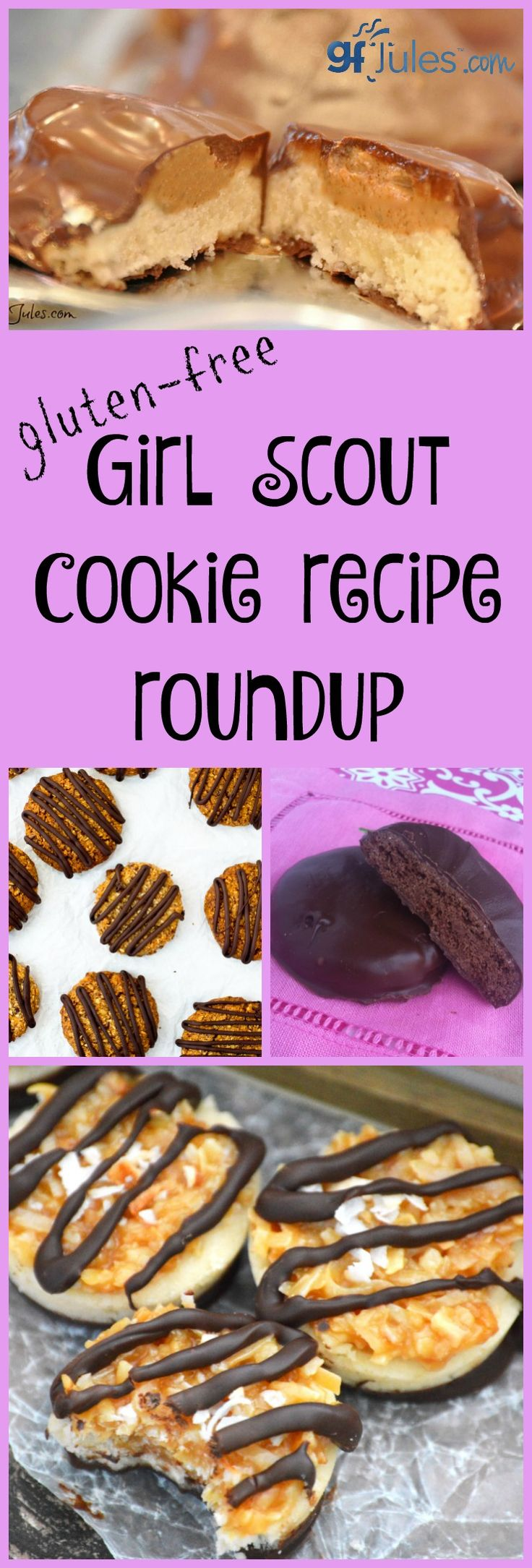 Gluten free girl scout cookie recipe roundup. Everything from Tag-a-Longs to Samoas, Thin Mints to Do-si-Dos -- make them yourself, gluten free, dairy free, vegan, paloe ... tons of options! - gfJules