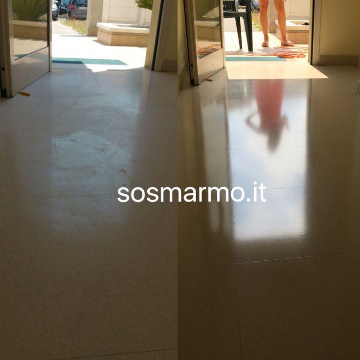 Prima/Dopo Lucidatura marmo limestone e protezione antisporco...  SOS MARMO 3478757300 info@sosmarmo.it www.sosmarmo.it