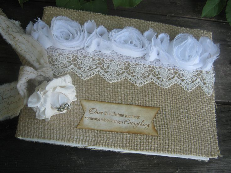 Guest book made from burlap and lace #wedding #diy #burlap