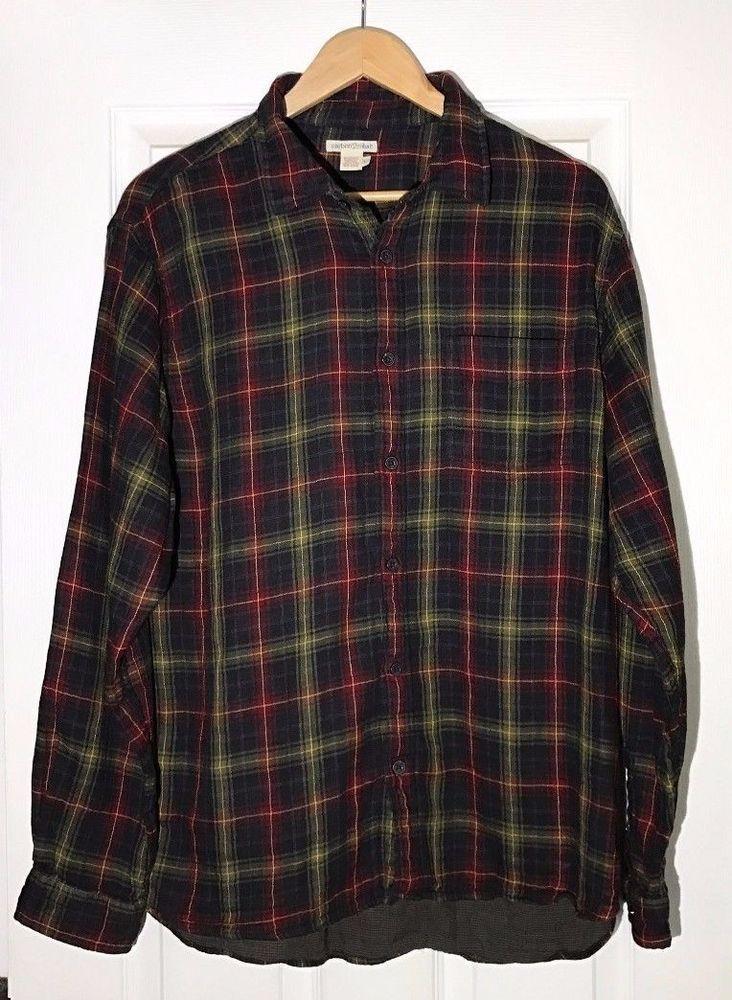 Carbon 2 Cobalt Large Black Red Plaid Shirt Long Sleeve Button Front 100% Cotton #Carbon2Cobalt #ButtonFront