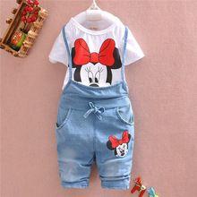 2015 marca de ropa para bebés Girls Minnie Mouse juego del verano del algodón niños pc se establece la camiseta + Jeans ropa niños Girl Set(China (Mainland))