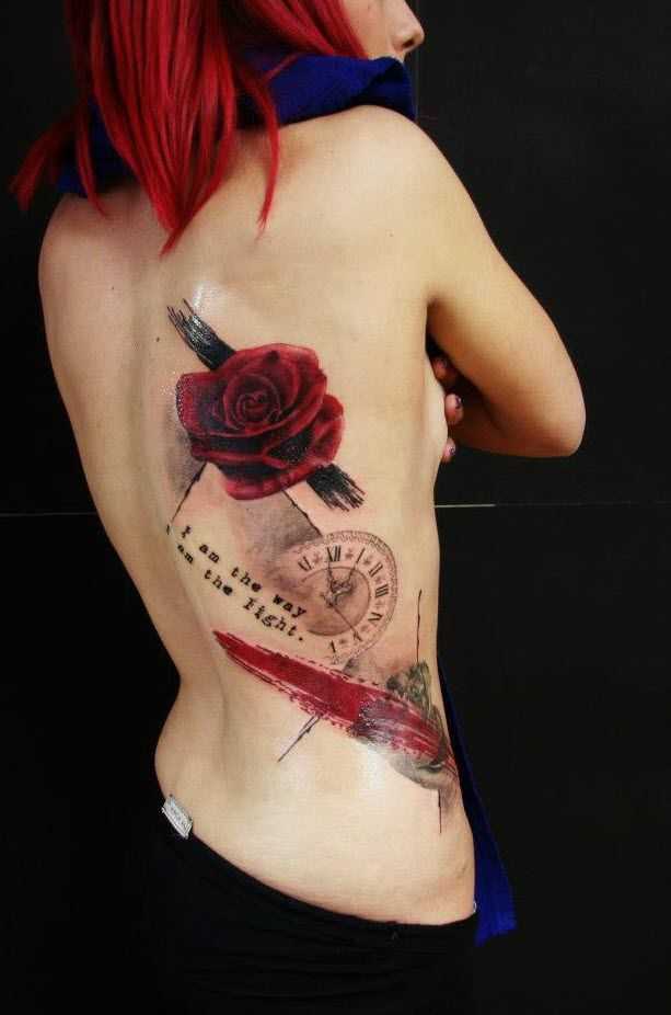tifanny co Rose tattoo trash polka style by greek artist Eirini Galatis