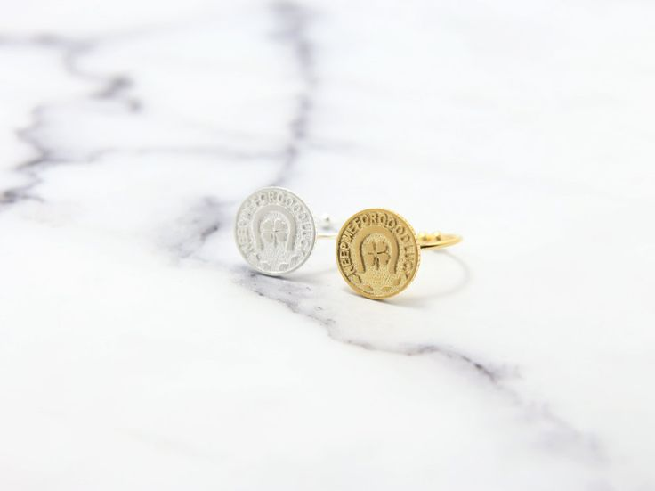 Texting medal rings,keep me for good luck,lucky rings,round rings,adjustable rings,circle rings,gold medal rings,coin rings,old coin rings by MYLB on Etsy