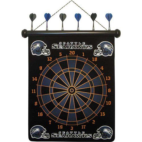 Seattle Seahawks Magnetic Darts: These magnetic dart boards offer all the fun and playability of regular darts with none of the damage to the wall surrounding the dart board! The game includes a magnetic hanging gameboard and 6 magnetic darts (3 of each 2 colors).  $29.99  http://calendars.com/Seattle-Seahawks/Seattle-Seahawks-Magnetic-Darts/prod1289078/?categoryId=cat00508=cat00508#