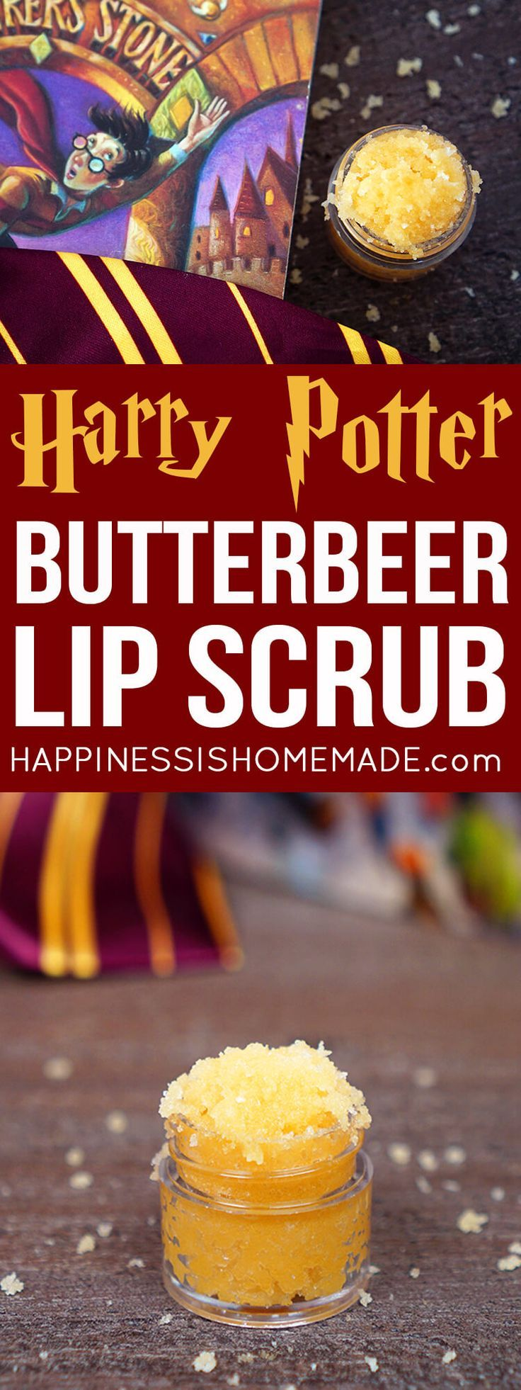 This delicious Butterbeer Sugar Scrub recipe is incredible (and SO easy to make!)! Make a small batch of Butterbeer Lip Scrub or a bigger batch to smooth your entire body and leave your skin soft and silky! A great homemade gift idea for Harry Potter fans! via @hiHomemadeBlog