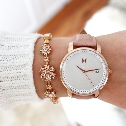 Rose Gold/Peach leather   MVMT Watches