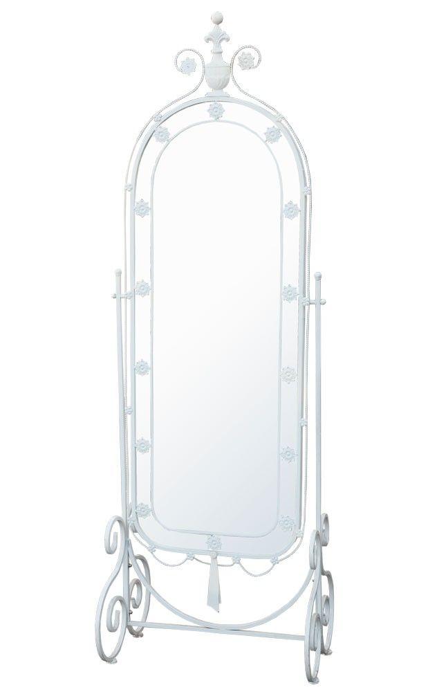 Floor standing white mirror