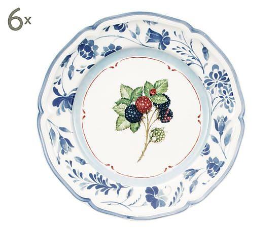 Set de 6 platos de porcelana Cottage