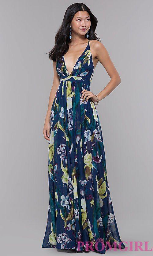 c3669bfe347 Low-V-Neck Long Floral-Print Wedding Guest Dress