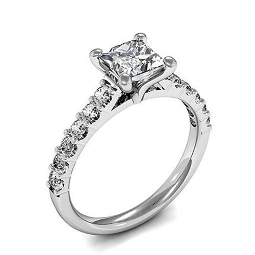 1.03 tcw Princess Cut Diamond Prong Set 14k White gold Solitaire Engagement Ring for valetine day
