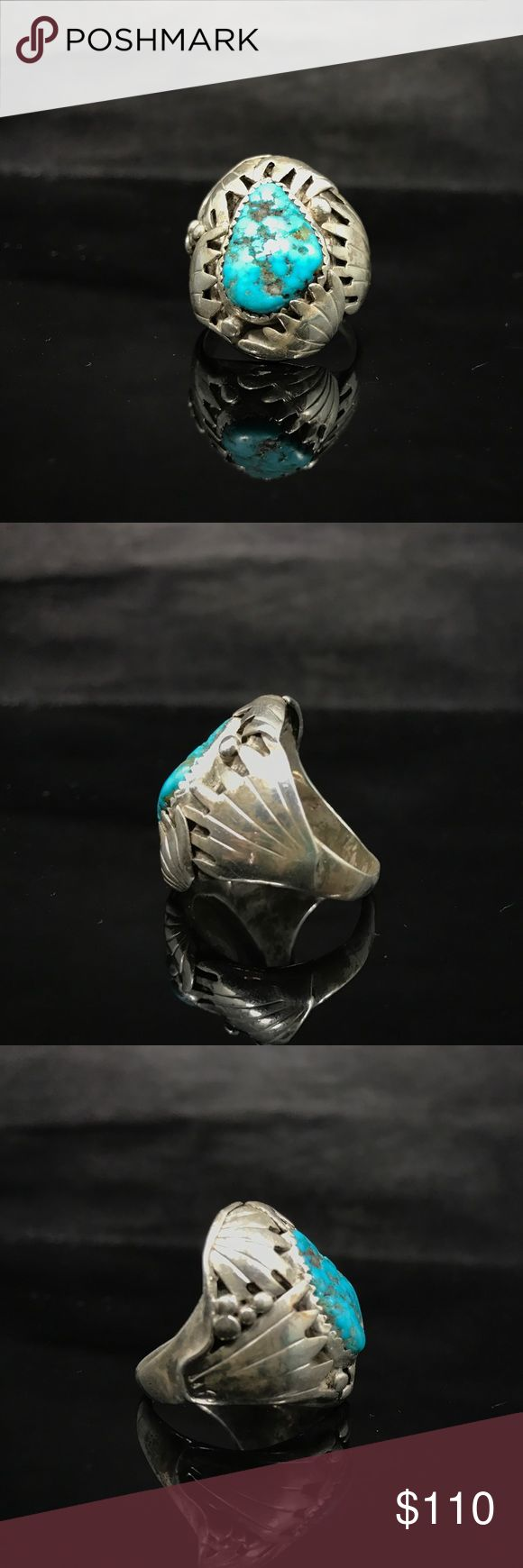 Large turquoise ring Large and heavy unsigned ring. 925 Sterling silver and gorgeous turquoise with unusual design! The band is slightly bent, but does not affect wear! BEAUTIFUL! Native American Jewelry Rings