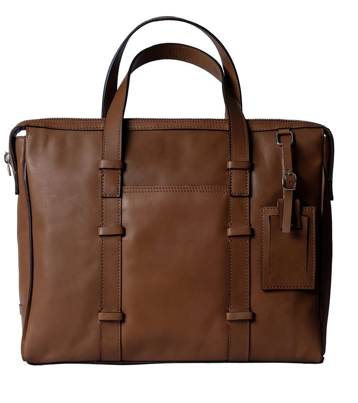 Genuine Leather Briefcase / Laptop Handbag for Men & Women, BAILEY, Compact Executive Bag fits 15.4 inch Laptop, 15 inch by 12 inch by 3 inch (Brown) by Ladderback
