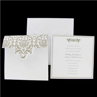 His & Hers White Pocket Wedding Invitations with Swirls & Pearl | Shop Hobby Lobby