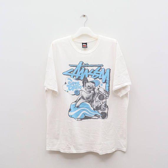 Vintage STUSSY Steetwear Hip Hop Skate White Tee T Shirt Size