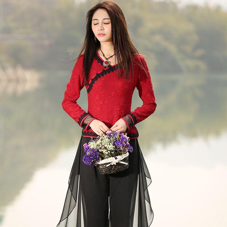 Купить Bohochic винтажный женщины красный дна рубашка весна осень вышивка этнический одежда AR0035Q Boho Chicи другие товары категории Футболкив магазине Boho ChicнаAliExpress. мужская футболка рок и мода составляют комплект