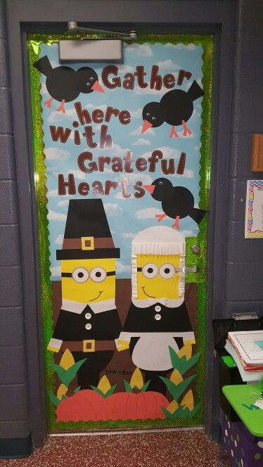 Thanksgiving school door decorating.  Thanks pintrest for all the great ideas!