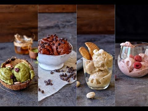 Helados veganos fit   4 RECETAS FÁCILES SIN AZÚCAR   Delicious Martha - YouTube Gluten Free Ice Cream, Food Inspiration, Muffin, Pudding, Breakfast, Healthy, Desserts, Recipes, Base