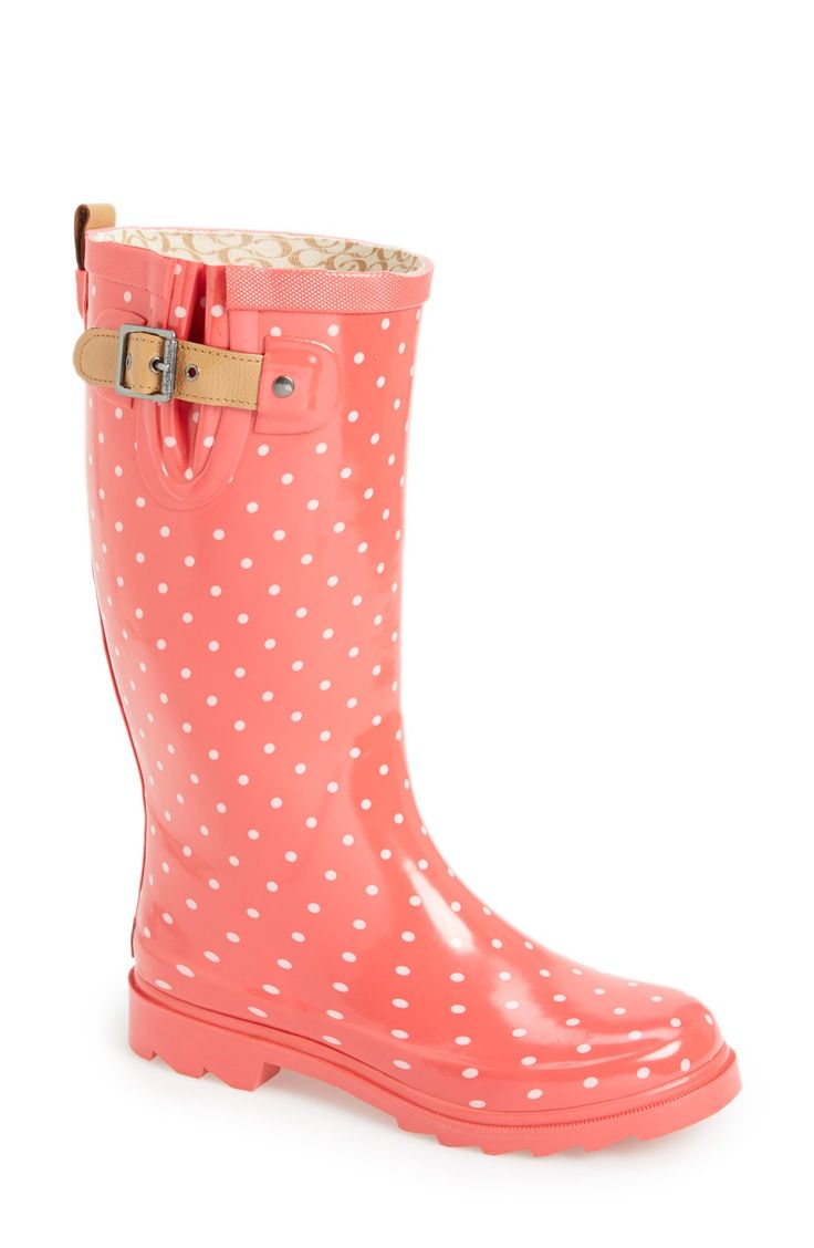 Love these coral polka dot rain boots!