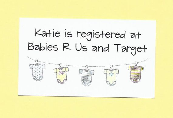 Set of 10 Custom Baby Gift Registry Cards - Baby Shower Invitation Enclosures - Easy Baby Showers - Baby Shower Gifts