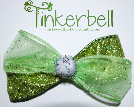 Tinkerbell Hair Bow by MickeyWaffles on Etsy