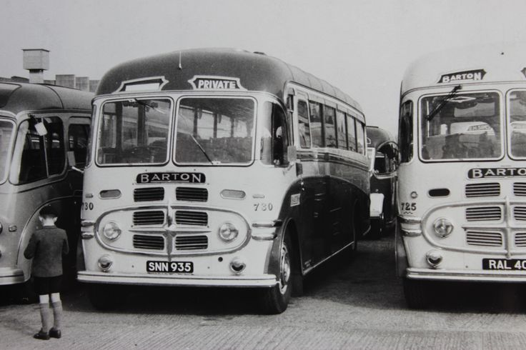 Barton - Vintage monochrome images. A pair of Plaxton bodied Barton BTS1s. 730 & 725 on Private Hire duties