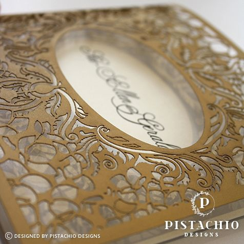 Intricate rose laser cut wedding invitation made by www.pistachiodesigns.co.za