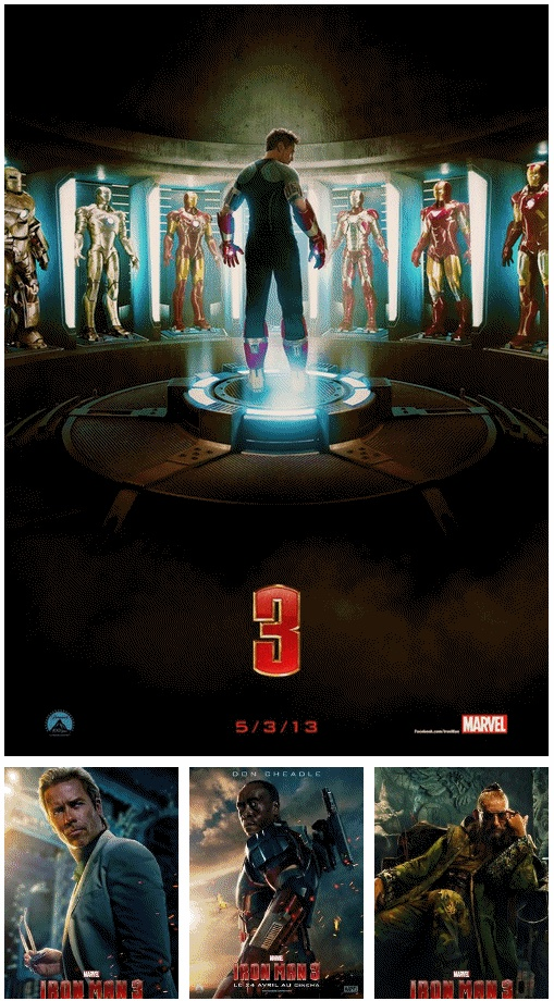 Awesome Iron Man 3 posters, set for the upcoming movie coming out May 3rd!! I can't wait. :)
