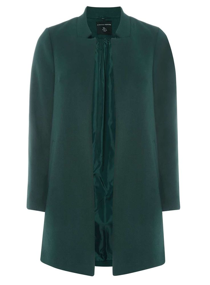 Green Notch Neck Coat - Jackets & Coats - Clothing - Dorothy Perkins