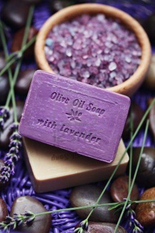 Olive Oil & Lavander Soap.  I Love lavendar, and I love that colour!