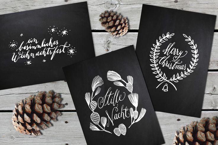 Weihnachtskarten-Set / 6 Stück / Chalkboard von JEANNETTE MOKOSCH auf DaWanda.com