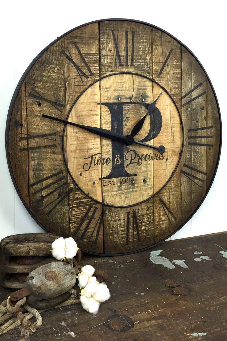 custom wood clock large wall clock clock reclaimed wood clock